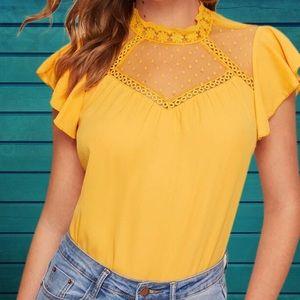 Tops - Bright yellow chiffon top